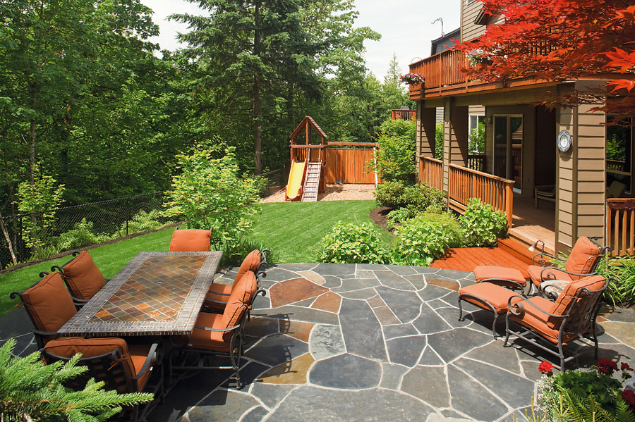 backyard paver with chair