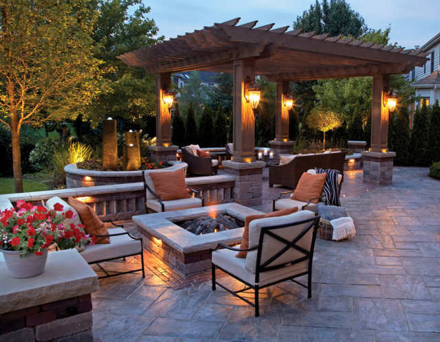 backyard with fire pit