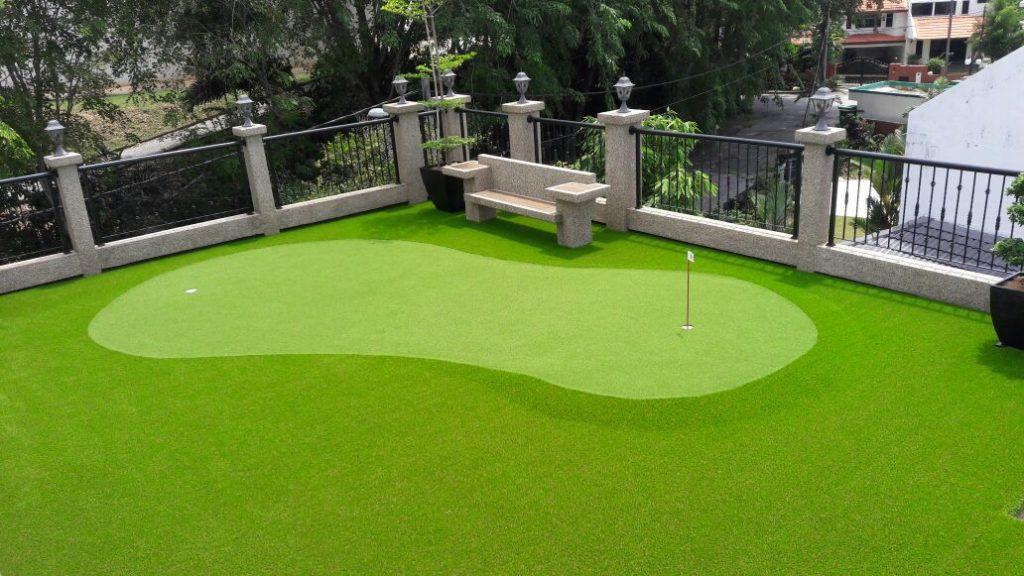 corner backyard putting green ideas