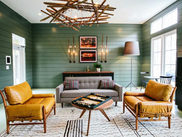green wall living room