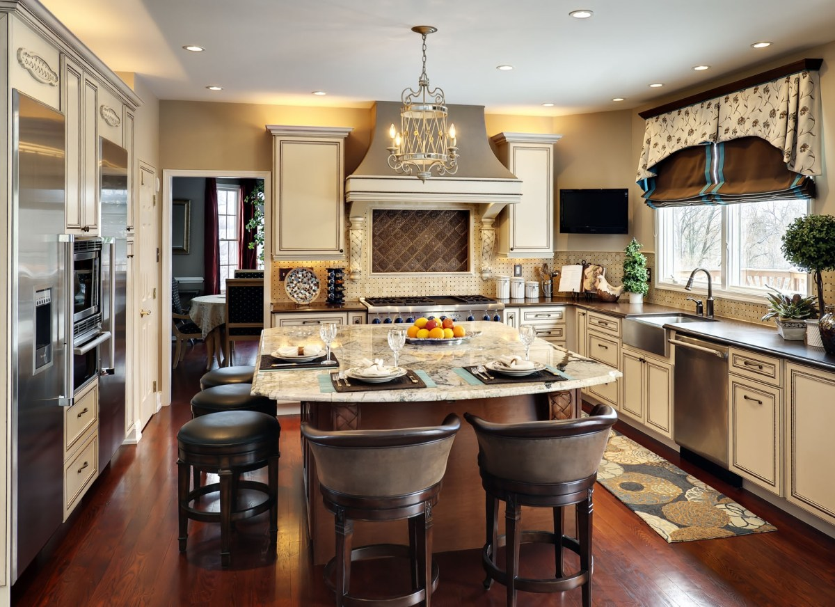 dining room with kitchen besides