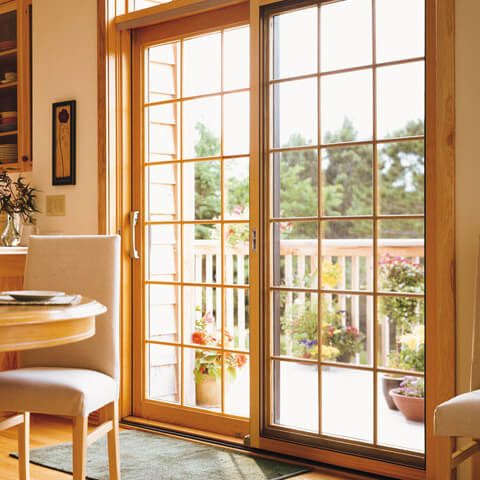 glass doors with wooden materials