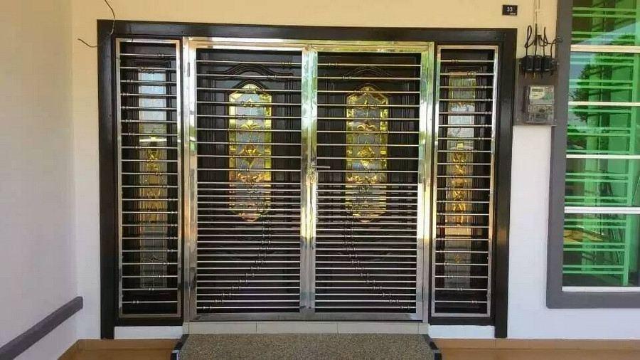wide stainless steel door design