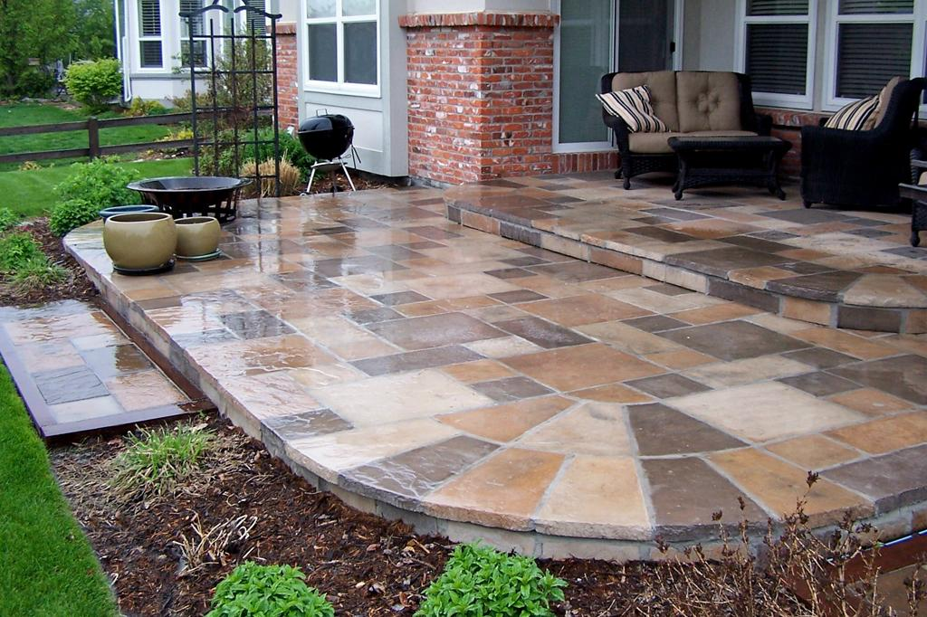 paving stone for front yard design with garden ideas