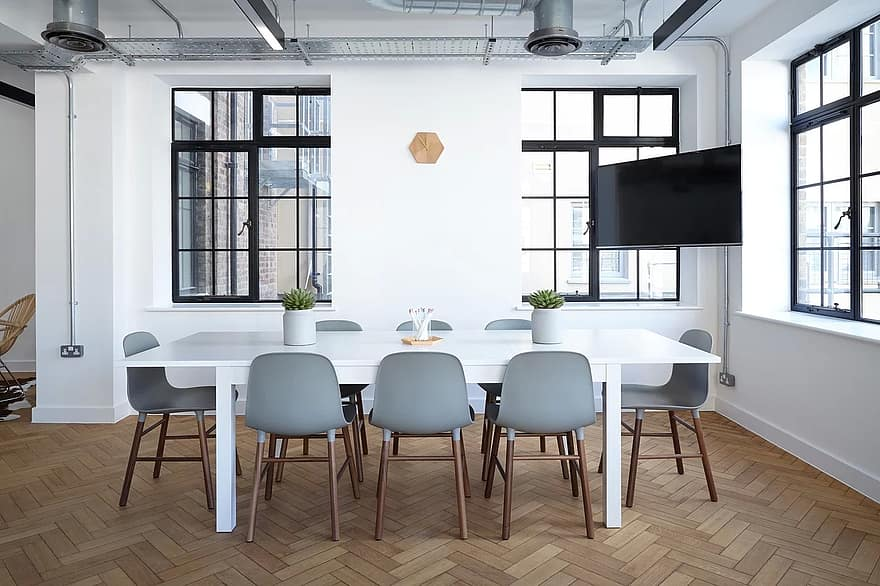 chairs contemporary furniture indoors interior design office room spacious table