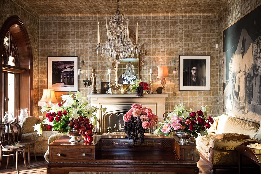 house interior design furniture flowers display living room wall