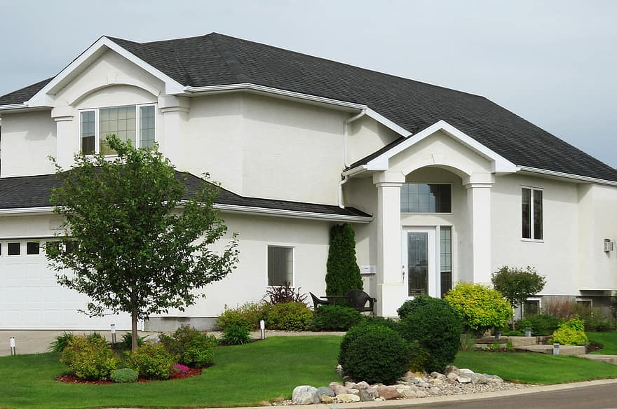 landscaping front yard house home residence real estate architecture residential property building mortgage 1