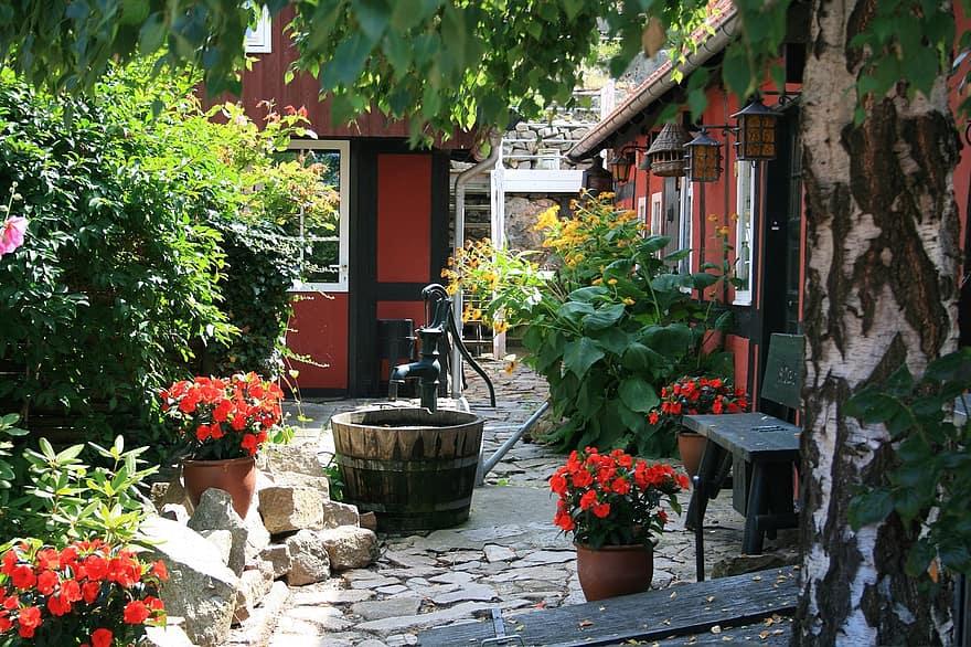 bornholm denmark backyard garden fountain