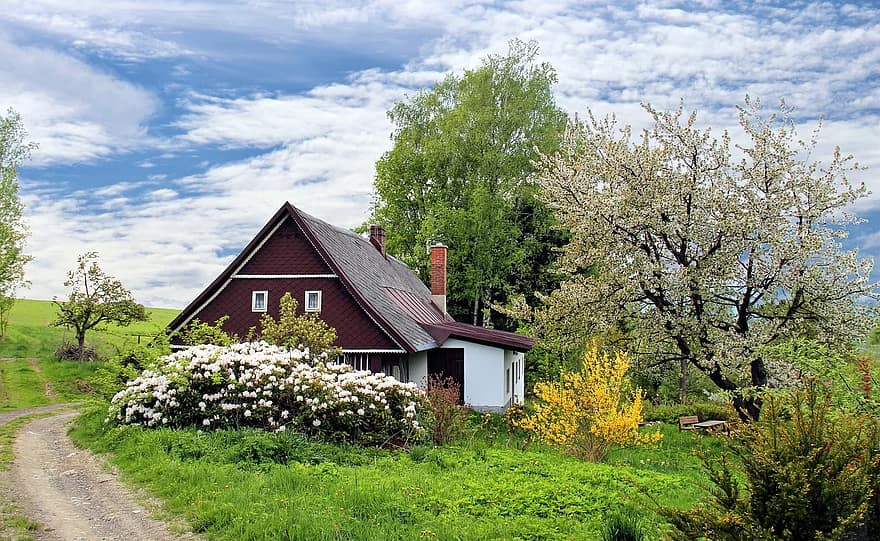spring cottage house home garden grass landscape secluded