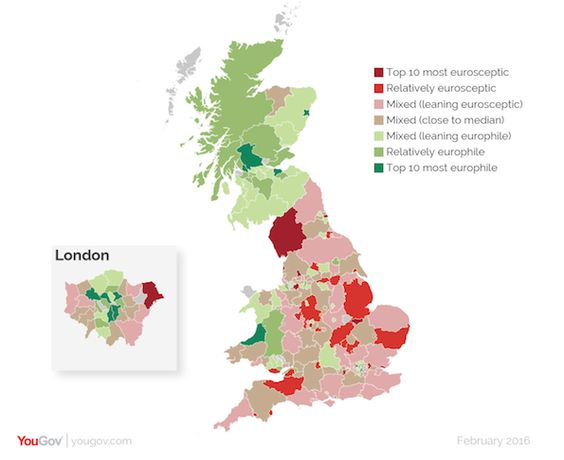 UK regions' attitudes to Brexit