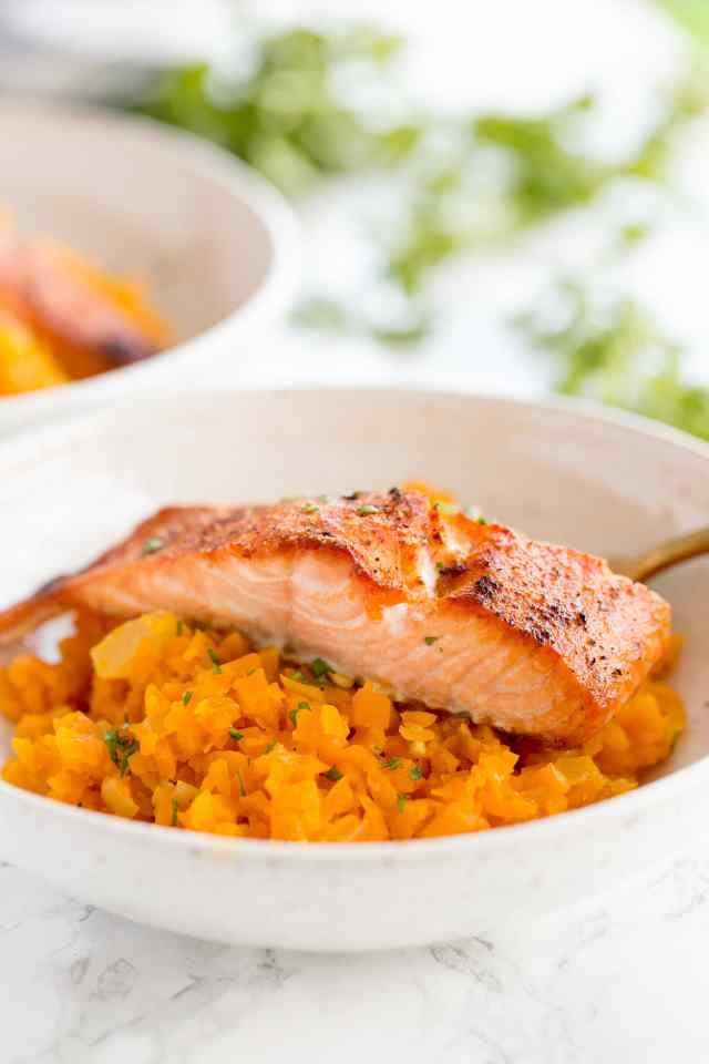 Butternut Squash Risotto with Crispy Salmon