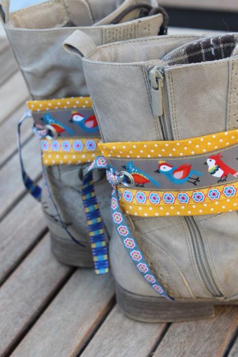 Bianca Farbenfroh designbeispiel für farbenmix - Borten designer Kollektion Lila Lotta Birds grau
