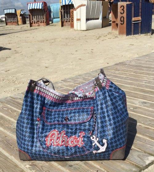Tasche Pernille Design Glitzerblume - Näh dir einfach und schnell eine große tolle Strandtasche mit dem Ebook oder Papierschnittmuster Pernille von farbenmix