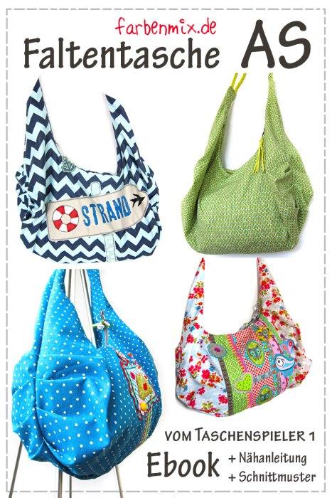 Faltentasche AS ab dieser Woche als Ebook bei farbenmix - Nähanleitung und Schnittmuster Taschen nähen