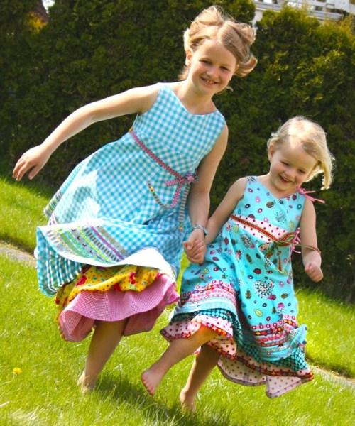 Einschulungskleid selber nähen mit Schnittmustern von farbenmix - ein Beispiel von Sandra - Unique