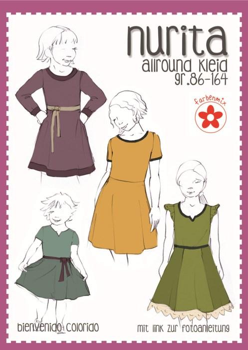 Papierschnittmuster Nuria und Nurita - das Jerseykleid mit verschiedenen Ärmelvarianten und Ausschnitten