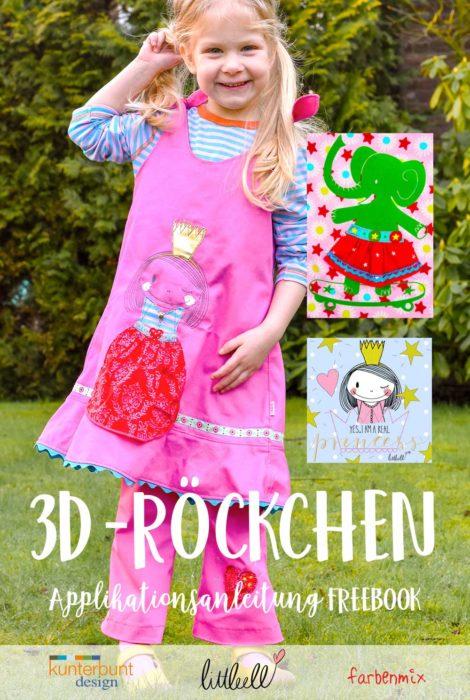 Freebie 3D Röckchen Applikationsvorlage von farbenmix