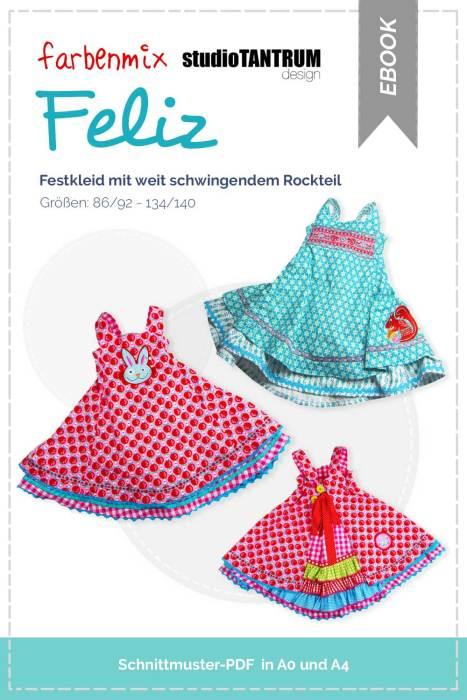 Festkleid mit weit schwingendem Rockteil - Schnittmuster für ein Einschulungskleid - selber nähen