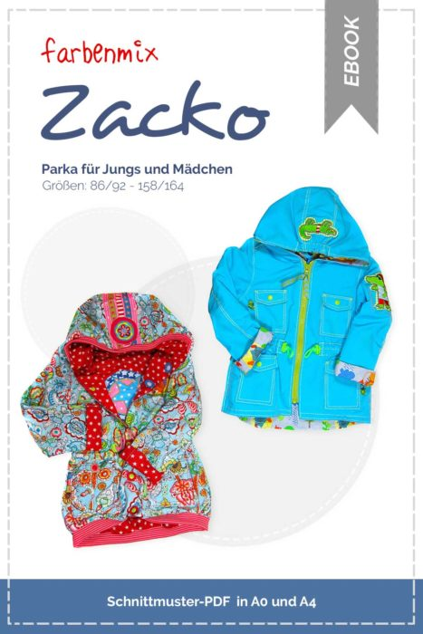 Parka für Kinder ZACKO jetzt neu als Ebook bei farbenmix. Jacke nähen für Kinder mit dem Ebook Schnittmuster