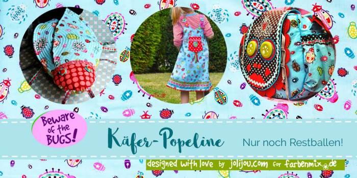 Beware of the bugs - Käfer Popeline farbenmix Stoff jetzt Restballen im Verkauf