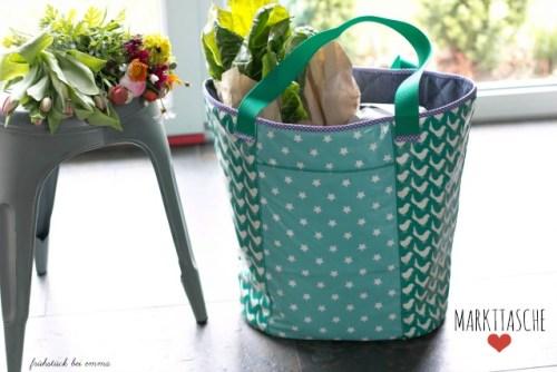 große Markttasche nähen mit Taschenschnittmuster von farbenmix - Frühstück bei Emma Designbeispiel