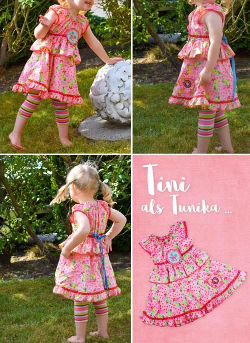 Sommerschnittmuster TINI ob als Tunika oder Stufenkleid. Als Ebook und Papierschnitt erhältlich bei Farbenmix