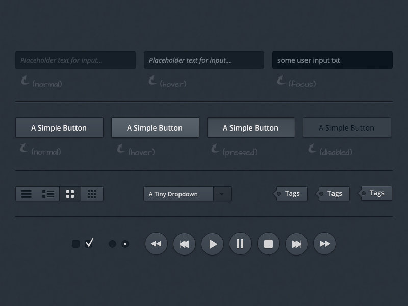 A dark user interface freebie/download
