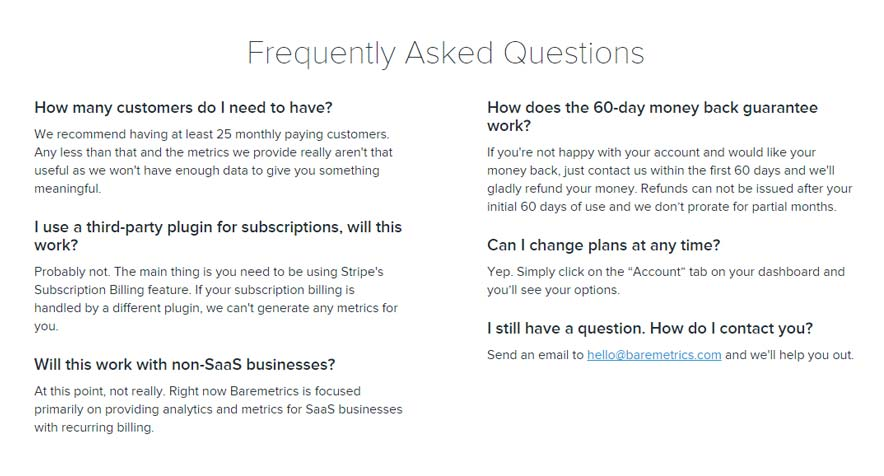 Have you ever included a FAQ for your services?  (Source: Baremetircs)
