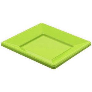 Assiette plastique carrée pistache 23cm