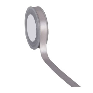 Ruban double satin 15mm gris