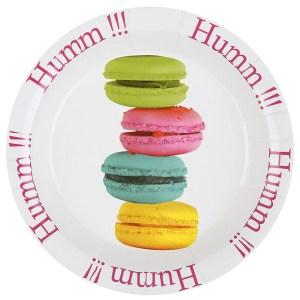 Assiette carton macaron multicolore