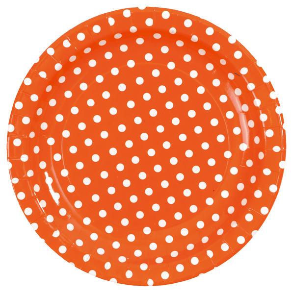 Assiette à pois orange