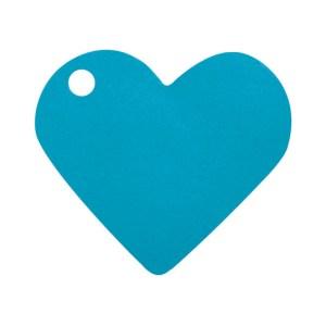 Étiquette cœur turquoise