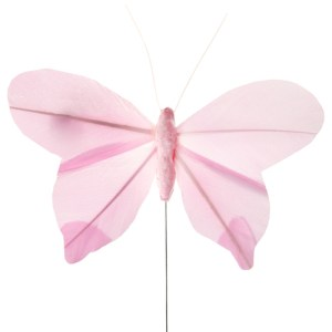 Papillon en plume rose