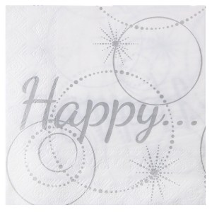 Serviette happy blanc