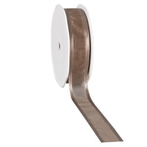 Ruban 25 mm organdi bordure satin taupe