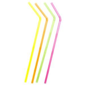 Paille flexible fluo