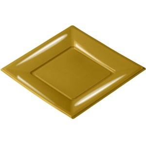 Assiette plastique carrée or 23cm