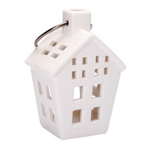 Maison à suspendre en porcelaine - blanc