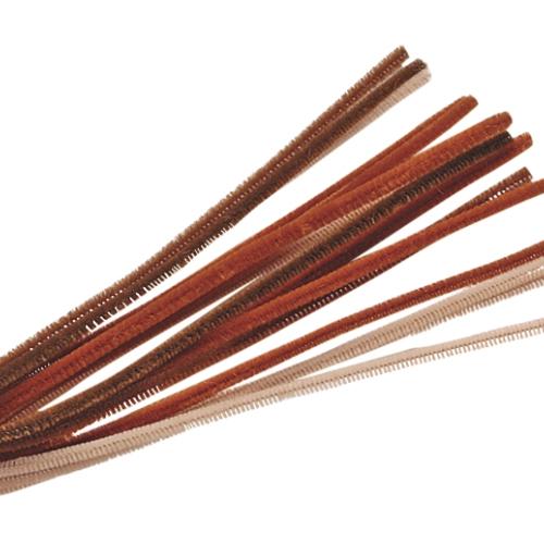 Chenille assortiment 50cm - brun