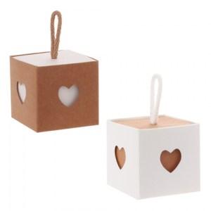 Boite cube cœur corde x 6 pièces