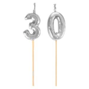 Bougie sur pique 30 ans - argent