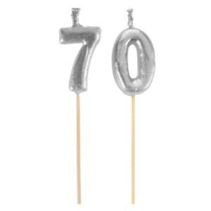 Bougie sur pique 70 ans - argent
