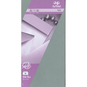 Enveloppe 114x223mm nacré - gris