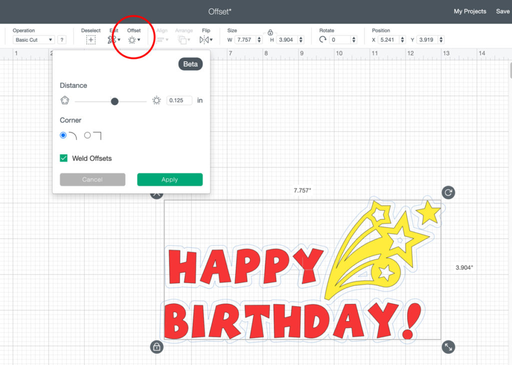 New cricut offset feature in design space