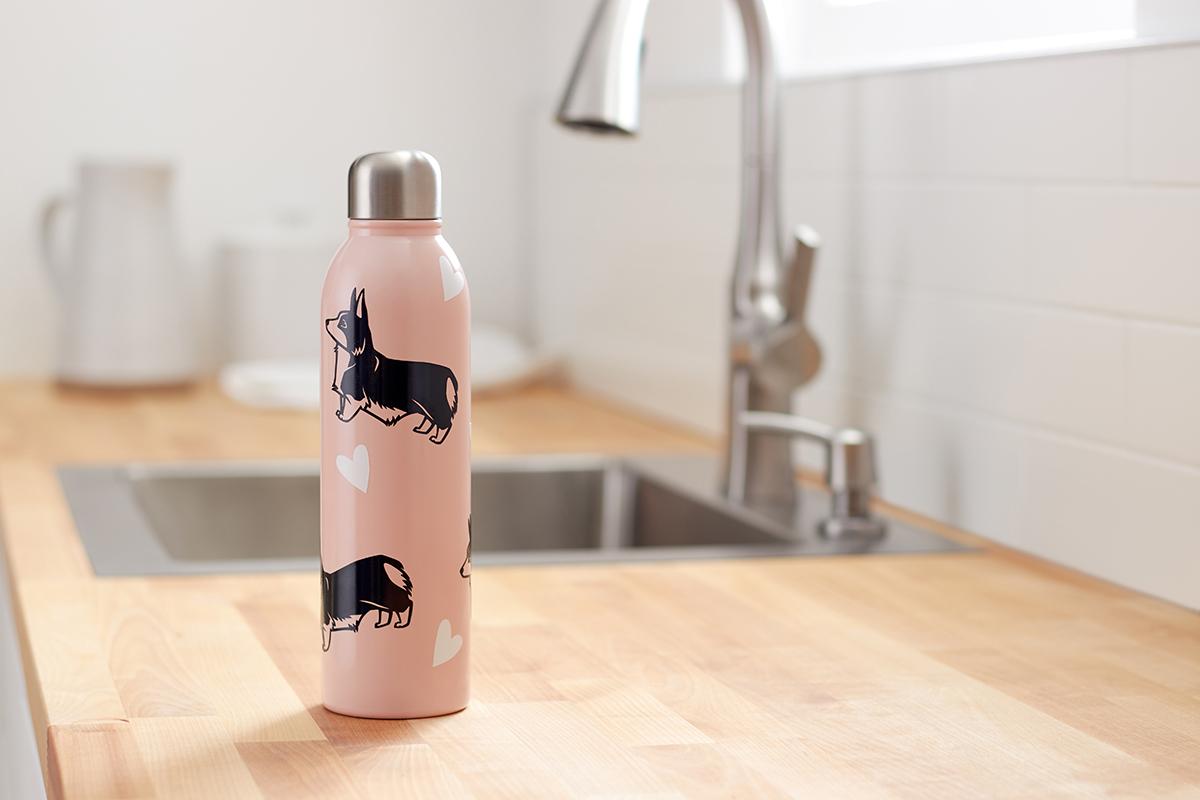 corgi decals on water bottle