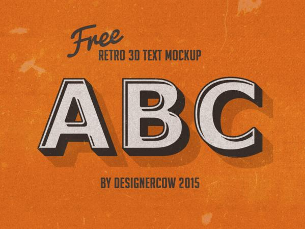 Free 3D Retro Text Mockup