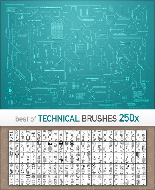 250 Technical Brushes