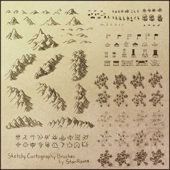 Sketchy Cartography Brushes by StarRaven