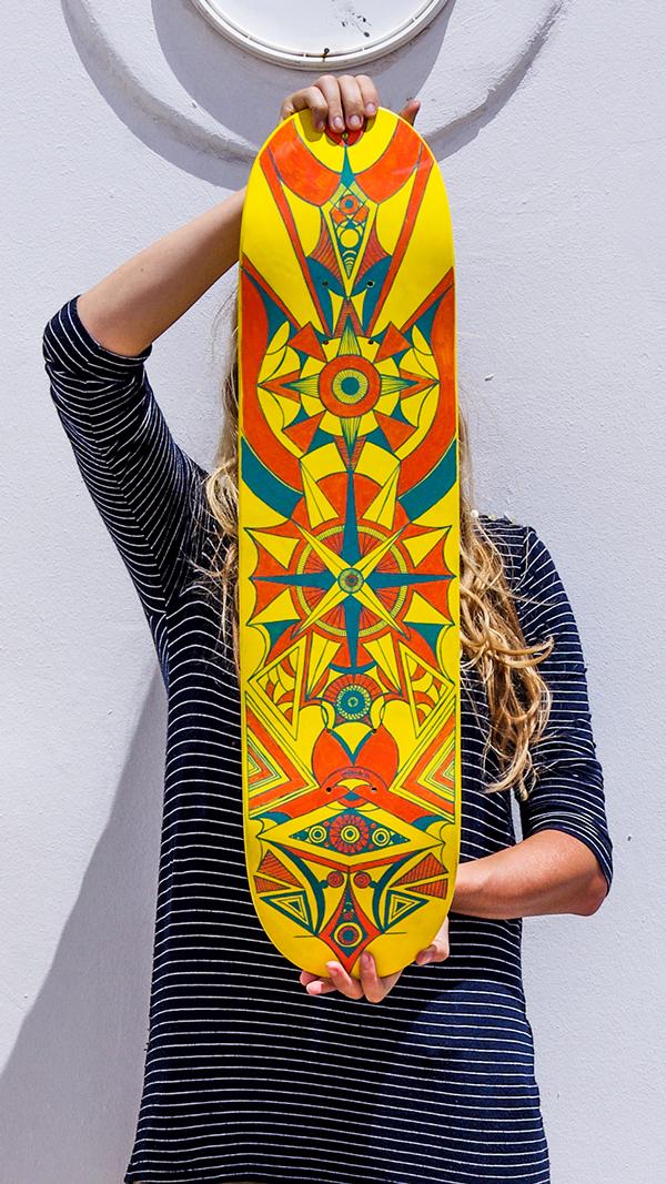 Paiting skateboard deck by Yutta Valter